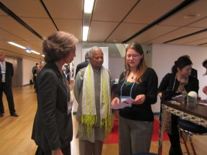 Inge Patsch from Monon with Queen Sophia from Spain and Professor Mohammed Yunus